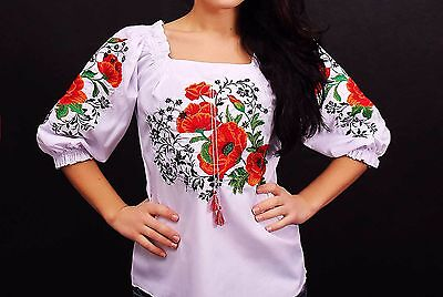 Ukrainian embroidered sorochka t-shirt blouse vyshyvanka, embroidery, Size M