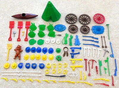 Vintage 1960s Lot of 100x WESTERN PLAYSET ACCESSORIES Marx MPC Ring Hand Figures