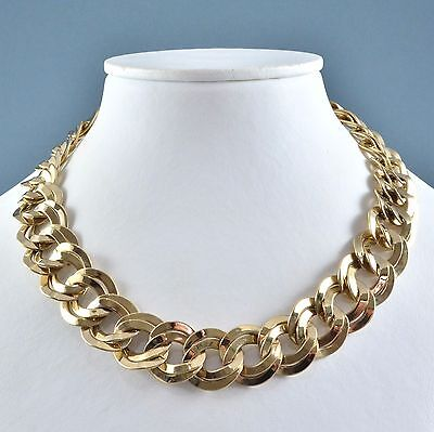 Vintage Necklace 1980s Goldtone Double Curb Link Collar Bridal Jewellery