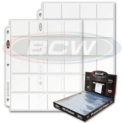 Lot of 25 BCW 20-Pocket Album Pages for 2x2 Coin Flips binder protector sheets