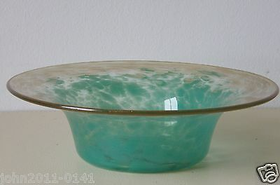 "Monart Glass Bowl Green with Gold Aventurine in clear glass UB VII 8.5"" Diameter"