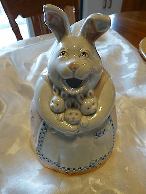 fitz and floyd 1983 Japan Mom Rabbit with Babies pattern pitcher