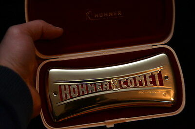 HOHNER COMET 3427 in Gold Wende Mundharmonika C + G Made in Germany TOP