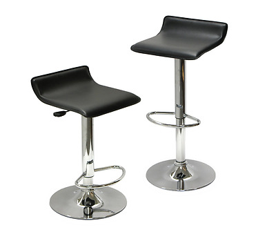 Set of 2 pcs Faux Leather Air Lift Adjustable Metal Bar Stool White Black Red