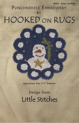 Penny Snowman Punchneedle Embroidery pattern & backing holiday 3 3/4 in Xmas blu