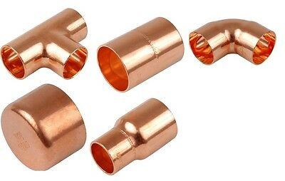Copper End Feed Fittings, Various types and Qty's. 8mm, 10mm, 15mm, 22mm, 28mm