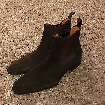 SANTONI Chocolate Brown Suede Leather Chelsea Ankle Boots Shoes  UK 8 EUR 42