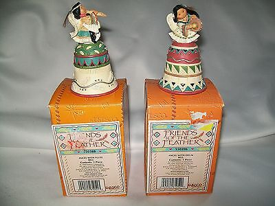 2 Friends Of A Feather Bells Angel W/ Drum & Flute  Native American Figures