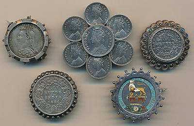 British India and Great Britain Lot of 5 Coin Jewelry