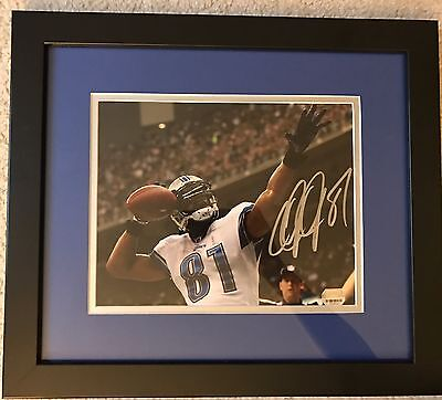 Calvin Johnson Signed Autographed Detroit Lions Matted Framed Photo COA HOF