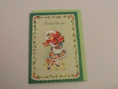 Vintage Greeting Card Christmas Niece Cute Girl Hallmark