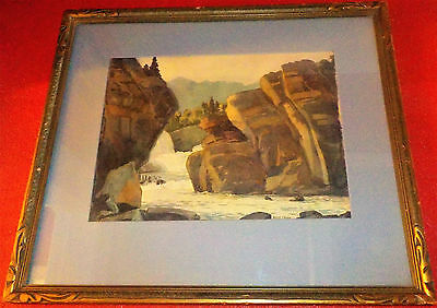 Vintage 1940's-50's Canadian Watercolor on Paper Landscape Painting, Signed