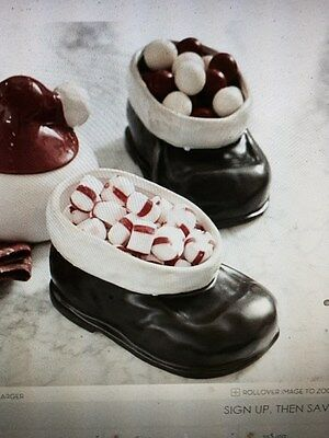 New in Box POTTERY BARN SANTA SHOES BOOTS CANDY SNACK DISH CHRISTMAS
