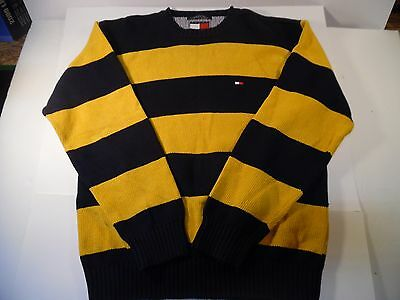 Vintage 90s Tommy Hilfiger Mens L Striped Yellow/Blue Cotton Crew Neck Sweater