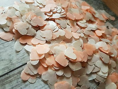Ivory & Pearlescent Champagne and Peach Heart  Wedding throwing Confetti 2guests