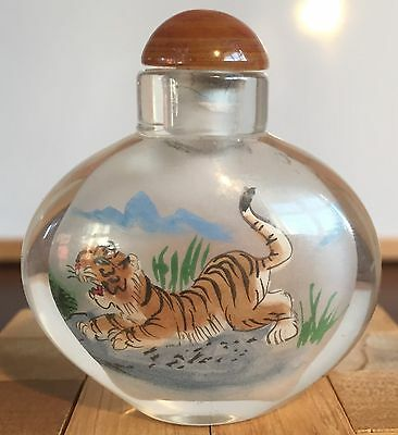 Wonderful Inside Painted Chinese Snuff Bottle, Design Tigers.  BOXED