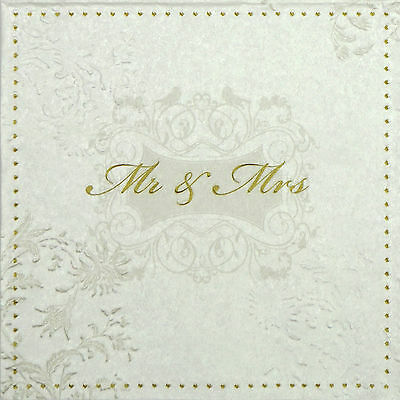 4x Paper Napkins -Mr & Mrs Embossed Gold- for Wedding, Party, Decoupage