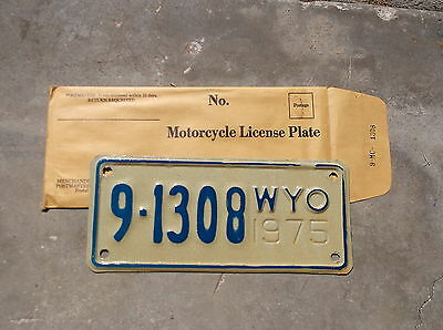 Wyoming 1975 motorcycle  License Plate  #  9  -  1308