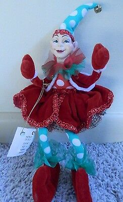 "KATHERINES COLLECTIONS Holiday ELF SHELF SITTER 11"" red/green whimsical"