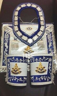 Hand Embroidery Masonic Past Master Apron,cuff's & Collar Matching Blue Velvet