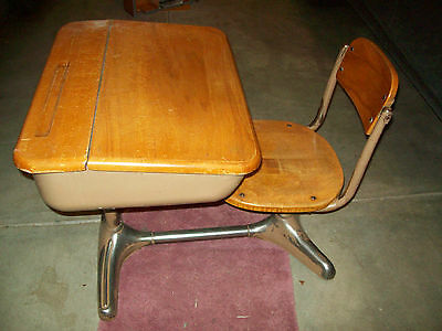 Vintage Old Flip Top Wooden Antique School Desk With Attached Swivel Seat