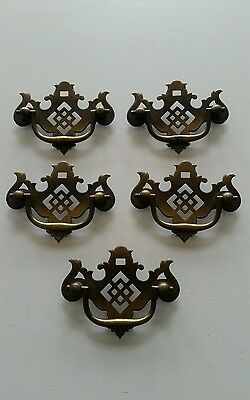 5 Matching  Vintage  Metal Drawer Pulls, Handles 2 1/2 Inch Center To Center