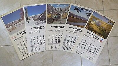 Vtg LOT 1970, 72, 74, 75, and 78  UNION PACIFIC RAILROAD CALENDARS train photos