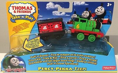 Lot of 2 THOMAS & Friends Take-n-Play PULL'N ZOOM TOBY & PERCY New