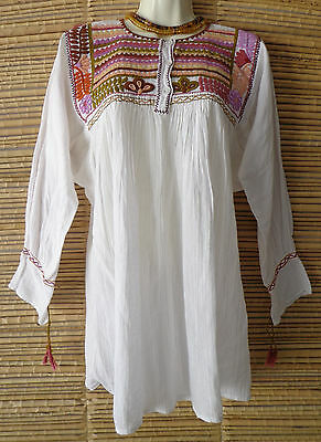 Free Shipping! Mexican Blouse Folk Boho Huipil Tunic w Flowers Embroidery S/M