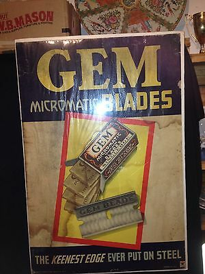 "1920's 30 1/2"" Gem Micromatic Razor Blade Sign"
