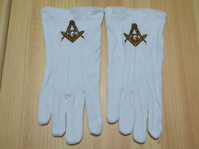 Hot sell  Masonic Gloves Customized  Embroidery G1 freemason