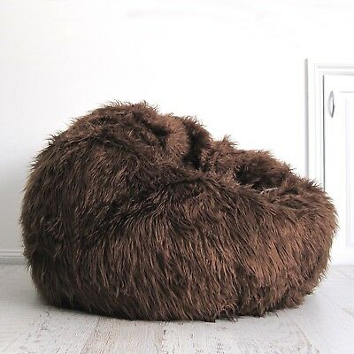 FUR BEANBAG Cover Soft Shaggy Chocolate Brown Bean Bag + Liner - Ivory & Deene