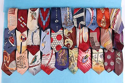 Lot/30 Vintage 40S 50S Silk Hand Painted Pin Up Girl Neck Tie