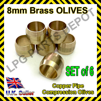 8mm Brass Olives SET of 6 Quality gas compression fittings copper pipe lpg auto
