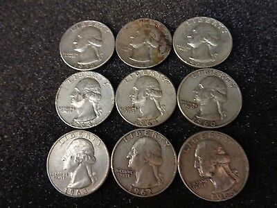 Lot of 9 Washington Quarters - 90% Silver US Coins - #843