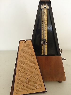 Antique Wooden Metronome de Maelzel Paris Paquet w/ Bell & Key, Old Vintage Rare