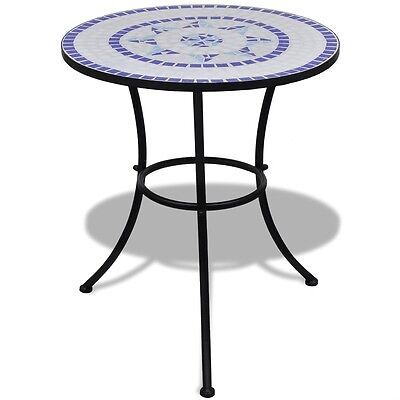 Mosaic Side Table 60 cm Ceramic Blue and White Bistro Bar Garden Porch Balcony