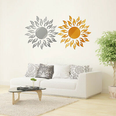Adhesive 3D Sun Flower Removable Mirror Wall Sticker Decal Vinyl Home Art Decor