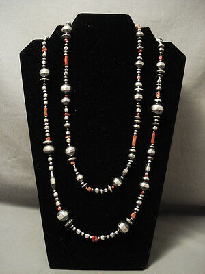 60 Inch Long Navajo Handmade Sterling Bead Coral Silver Necklace!
