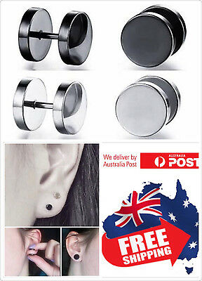 1pc Screw-on Black Silver Fake Ear Plugs Stainless Steel Studs Piercing Earrings