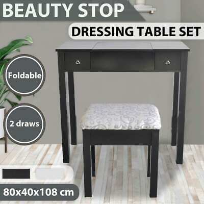 vidaXL Dressing Table with Stool and 1 Flip-up Mirror Cabinet White/Black