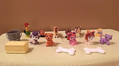 13 Farm Animals~Chickens, Cow,donkey,dogs,cat, Rooster,pig & Accessories