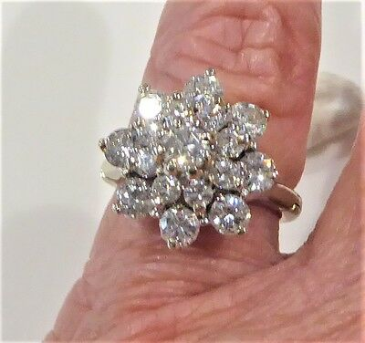 Valuation $9,900 14k White Gold 2.28 carat Diamond ring with hinged band size K