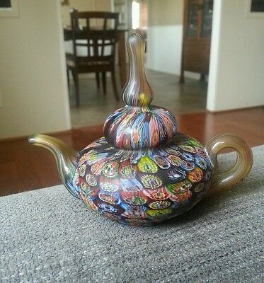 VTG Rare Murano Venetian Art Glass Millefiori TEA POT Paper weight $ REDUCED $