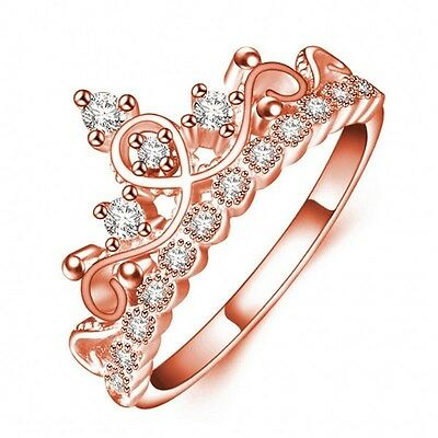 Engagement Women Crown Jewelry Diamonique Cz Rose Gold Filled Wedding Band Ring