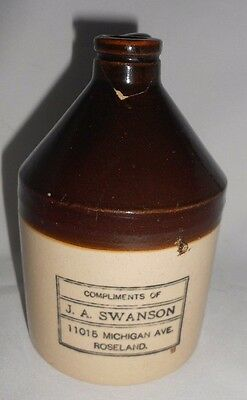 Vtg J A Swanson Roseland Stoneware Advertising Jug Pre-Pro Chicago AS-IS