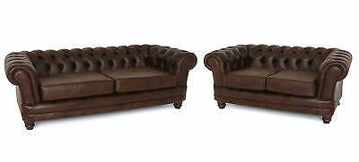 Stylish New Chesterfield 3 + 2 Sofa Set Couch In Mahogany Brown Leather Match
