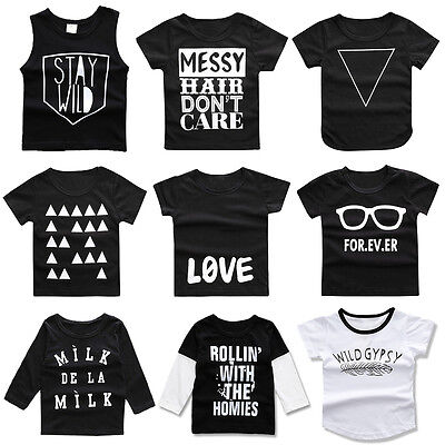 Kids Baby Boys Printed Summer Tops Tee Blouse T-shirt Vest Toddler Clothes 18M-4