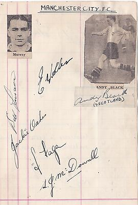 Signed Manchester City 1940s Billy Walsh Eire Andy Black Scotland Clarke Wales +