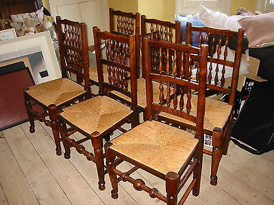 A set of six antique Lancashire spindle back chairs